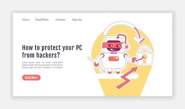 悪いボットランディングページフラットシルエットベクトルテンプレート。悪意のあるマルウェアのホームページのレイアウト。 pcをハッカーから保護します。1ページのwebサイトインターフェイスを漫画のアウトライン文字で保護します。