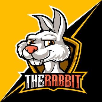 나쁜 토끼, 게임 및 스트리머를 위한 마스코트 e스포츠 로고 벡터 일러스트
