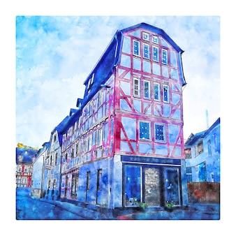 Bad camberg 독일 수채화 스케치 손으로 그린 그림