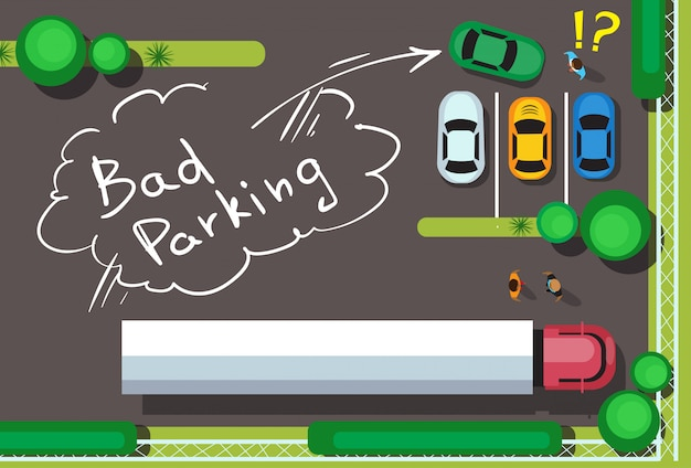 Bad city parking blocking cars concept top angle view