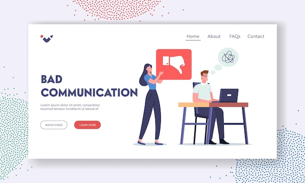 Bad communication landing page template. businessman need to rework. boss character yell at office employee scolding for incompetent bad work, show thumb down. cartoon people vector illustration