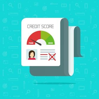 Bad credit history or score report  flat cartoon