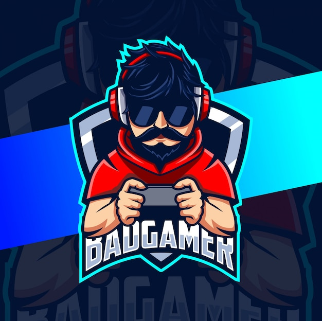 Bad gamer man mascot esport logo design