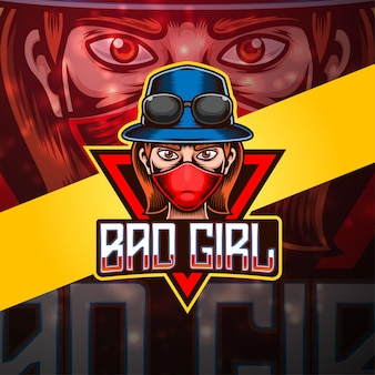 Плохая девочка киберспорт дизайн логотипа талисмана
