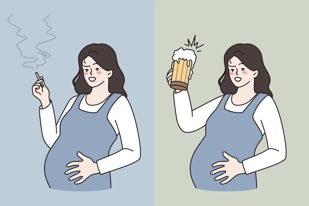 Bad habits during pregnancy concept. young pregnant woman standing embracing belly smoking cigarette and drinking beer living unhealthy life vector illustration