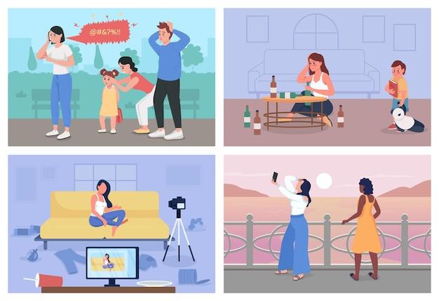 悪い習慣フラットカラーベクトルイラストセット。怒りの管理の問題。デジタル中毒。背景コレクションの屋内と屋外で動揺した男性と女性の2d漫画のキャラクター