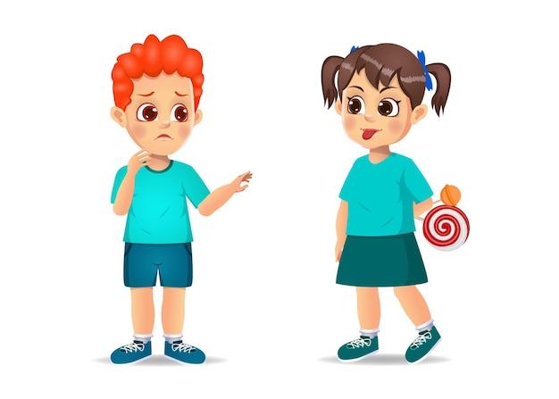 悪い子供は彼女の友人に彼のしかめっ面の顔を見せます。白で隔離