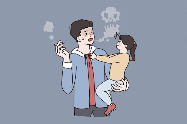 부모 개념의 나쁜 생활 방식. 담배를 피우며 스트레스를 받는 작은 딸을 손 벡터 삽화에 안고 있는 젊은 아버지