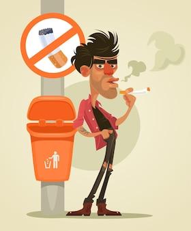 Bad man character smoking under sign no smoke flat cartoon illustration
