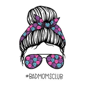 Bad moms club women with aviator glasses bandana and skull print messy bun mom lifestyle