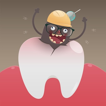 The bad monster is digging and damaging the tooth