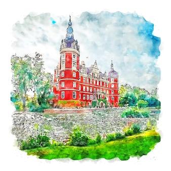 Бад-мускау германия акварельный эскиз рисованной иллюстрации