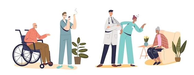 Плохой набор для медсестер с ленивыми и сердитыми медсестрами, кричащими на пациента, игнорирующими больных. в больнице работают непрофессиональные медицинские работники с больными людьми. плоские векторные иллюстрации шаржа