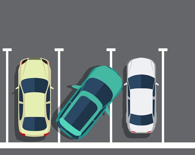 悪い駐車場。車の上面図。フラットなデザインのベクトル図