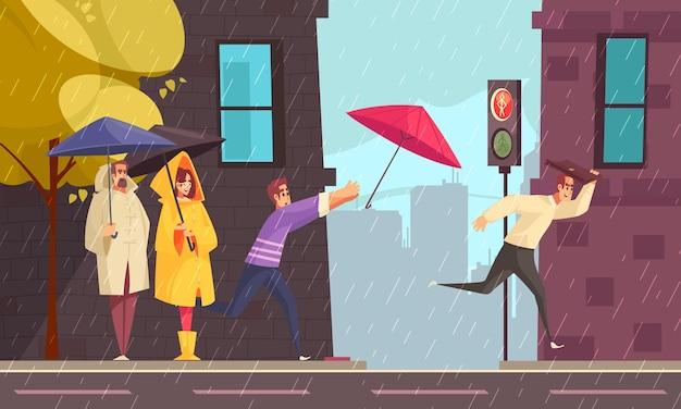 사거리에서 우산 아래 비옷을 입은 사람들과 평평한 도시의 비가 오는 날씨