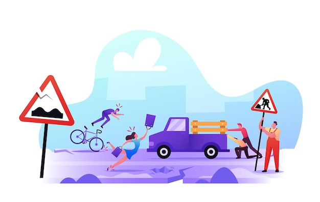 Bad road concept. city dwellers get in troubles on broken highway. woman stumble falling down on asphalt, man fall down from bicycle, male characters push stuck car. cartoon people vector illustration