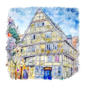 バートザルツフレンドイツ水彩スケッチ手描きイラスト