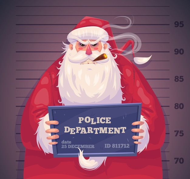 Bad santa in police department. christmas greeting card background poster. vector illustration. merry christmas and happy new year.