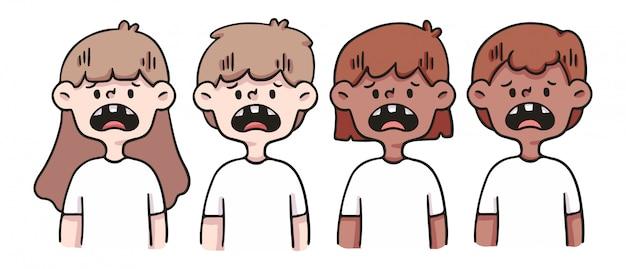 Bad set of teeth cute people illustration
