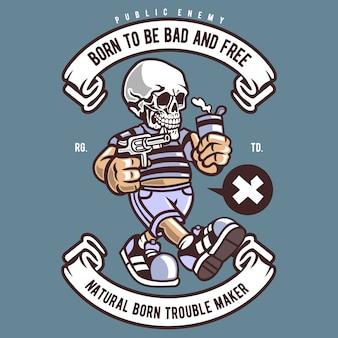 Bad skull cartoon