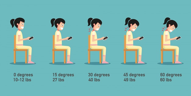 The bad smart phone postures,the angle of bending head related to the pressure on the spine,body posture.illustration