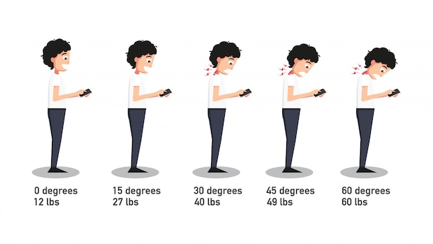 The bad smartphone postures, the angle of bending head related to the pressure on the spine. vector