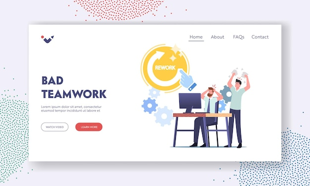 Bad teamwork landing page template. angry boss character yelling at office employee scolding for incompetent bad work, tear documents demand fixing mistakes. cartoon people vector illustration