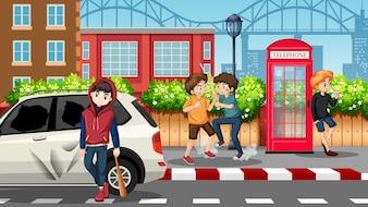 Bad teengaers in street