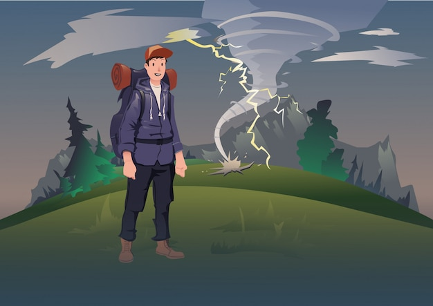 山の悪天候。竜巻と雷の山の風景の背景にバックパックを持つ男。山岳観光、ハイキング、アクティブなアウトドアレクリエーション。図。