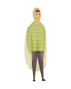 悪い風の雨の天気面白い漫画の人々のアイコン。雨の下に立っているレインコートの男。レインウェアの服を着たキャラクター。