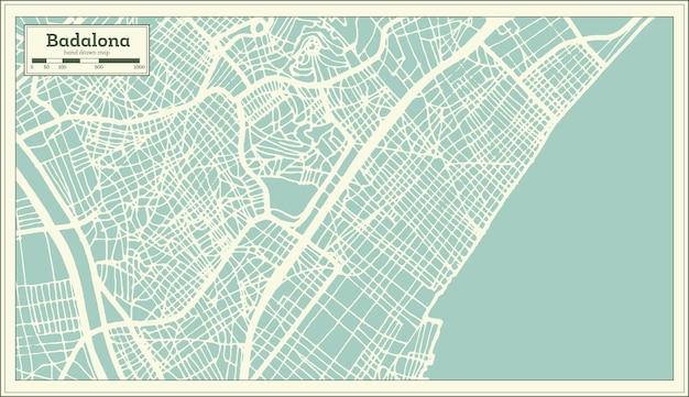 복고 스타일 badalona 스페인 도시 지도입니다. 개요 지도. 벡터 일러스트 레이 션.