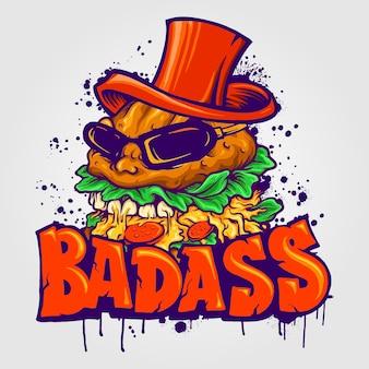 Badass big hamburger hat гамбургер векторные иллюстрации для вашей работы логотип, футболка с товарами-талисманами, наклейки и дизайн этикеток, плакат, поздравительные открытки, рекламирующие бизнес-компанию или бренды.