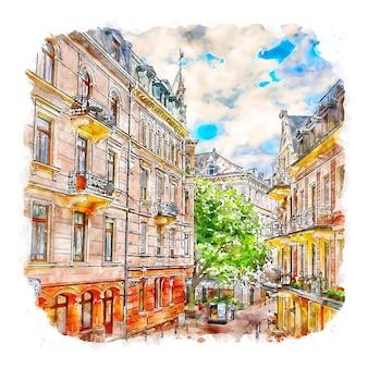 Baden germany watercolor sketch hand drawn illustration