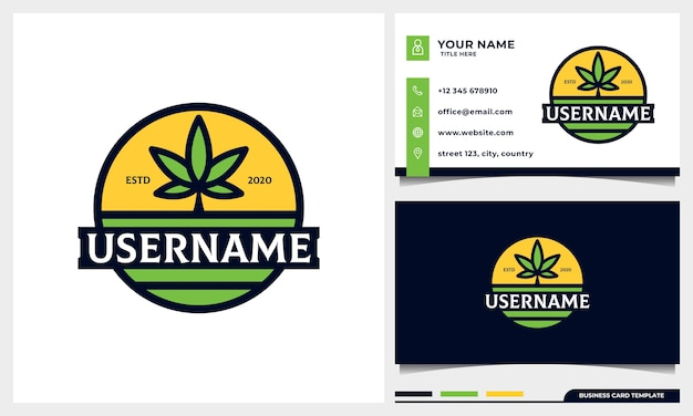 名刺テンプレートと大麻葉と太陽のコンセプトロゴデザインとバッジ農業