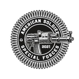 Badge of an ak47 rifle