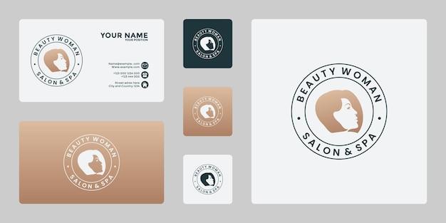 Значок салона красоты, спа, косметический женский логотип дизайн вектор Premium векторы