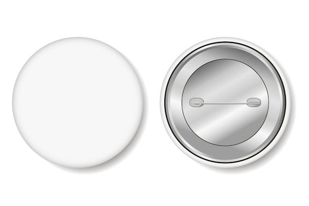 Badge. blank white pin button - realistic mockup. vector illustration.