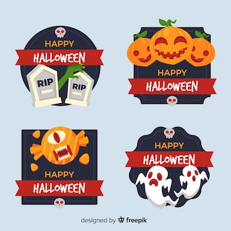 Badge collection of flat halloween