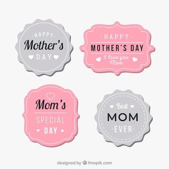 빈티지 스타일의 어머니의 날 배지 컬렉션