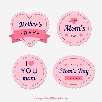 Badge collection for the mother's day in vintage style