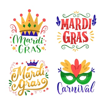Badge collection with mardi gras concept