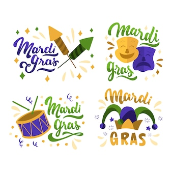 Badge collection with mardi gras theme
