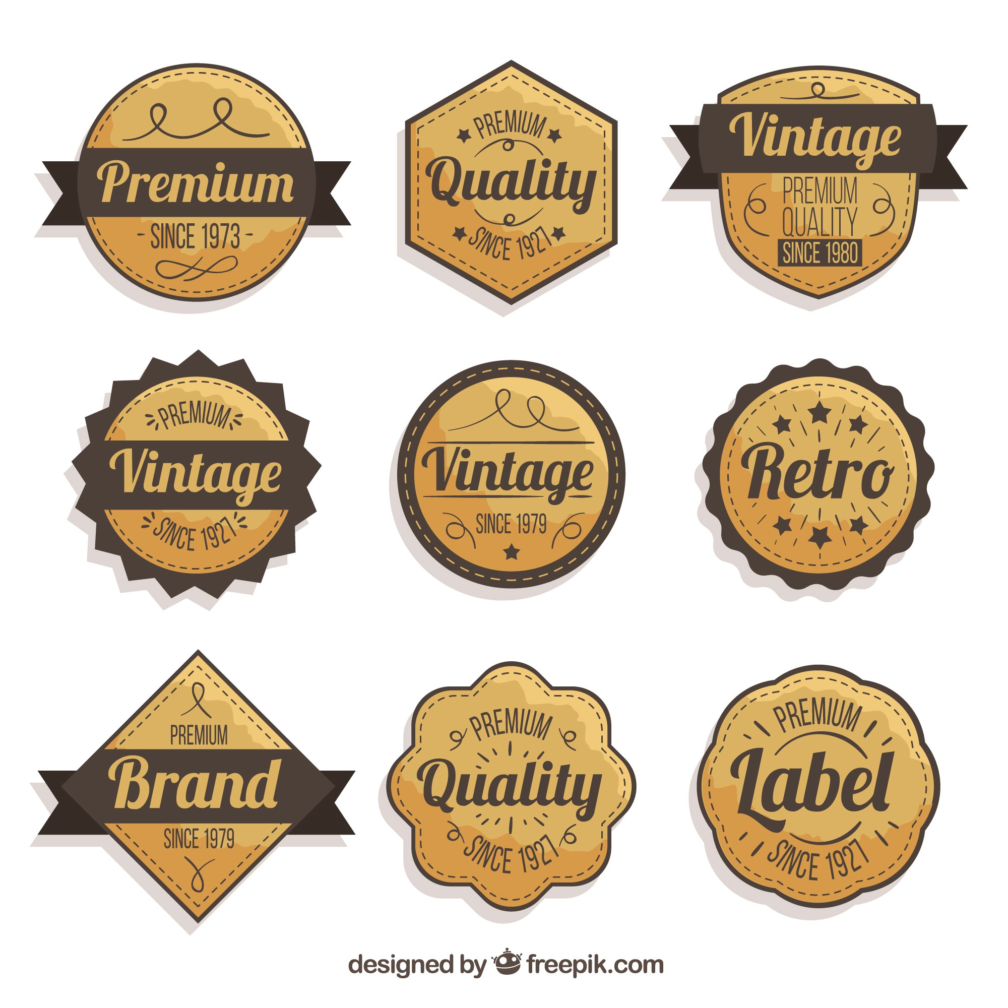 Badge collection with vintage style