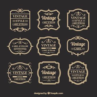ヴィンテージスタイルのバッジコレクション