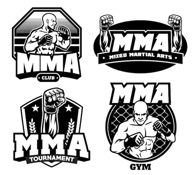 Badge design of mma isolated on white