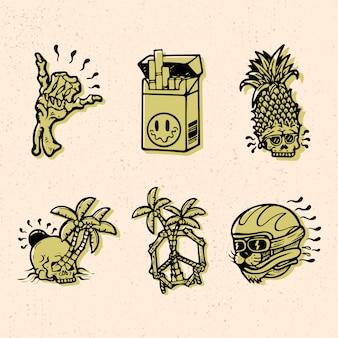 Дизайн значка с тропическим летним стилем иллюстрации для товаров