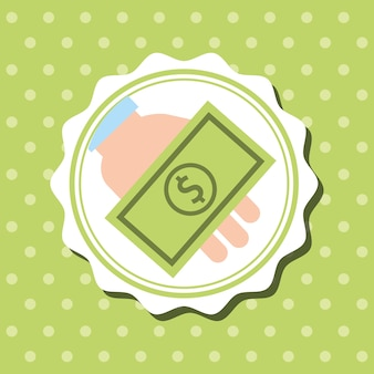 Badge dots background hand holding banknote money