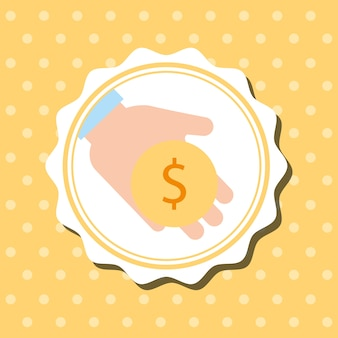 Badge dots background hand holding coin money