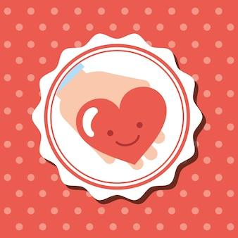 Badge dots background hand with kawaii heart charity