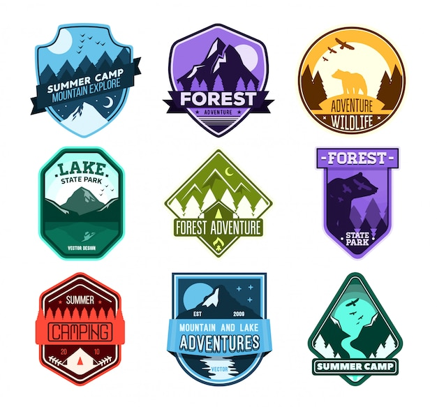 Badge for forest camping, exploration camp, tourism extreme sport club. wild travel sticker.